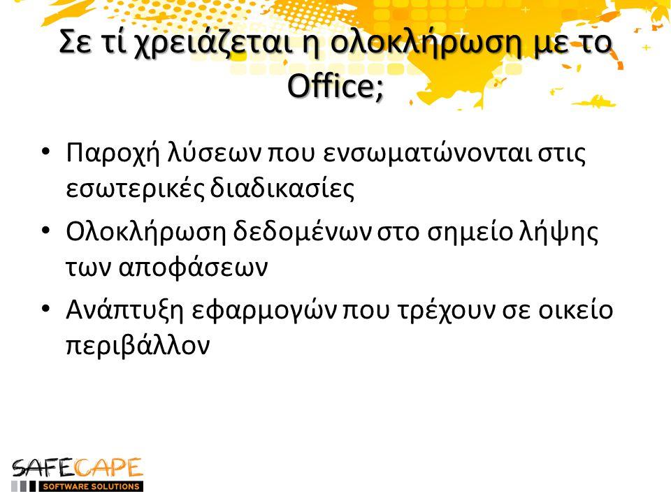 Office Solutions Development • To Office χρησιμοποιεί τις εφαρμογές σας – Document-level customizations – Application-level add-ins • Οι εφαρμογές σας χρησιμοποιούν το Office – Automating Office Applications • SharePoint development