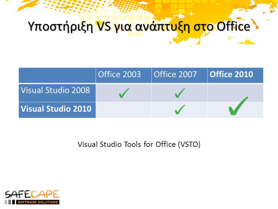 Βελτιώσεις στο Visual Studio 2010 • Ribbon designer και για τα InfoPath 2010, Project 2010, and Visio 2010 • Side by side CLR (Fx 3.5 and Fx 4.0) • Βελτιώσεις στο Deployment – Multi-Solution deployment – Pre/Post deployment activities
