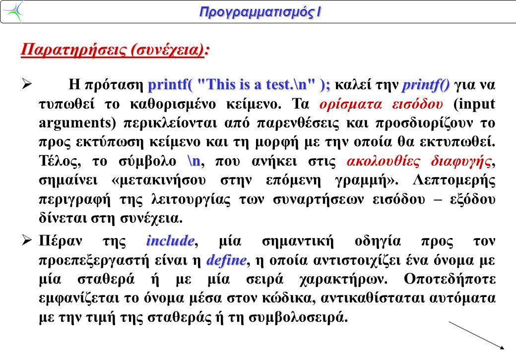 Προγραμματισμός Ι Παρατηρήσεις (συνέχεια): printf(