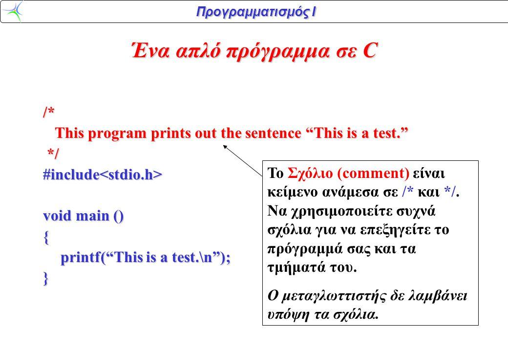 Προγραμματισμός Ι /* This program prints out the sentence This is a test. This program prints out the sentence This is a test. */#include<stdio.h> void main () { printf( This is a test.\n ); } stdio είναι ένα αρχείο (library) που παρέχει πρότυπες συναρτήσεις εισόδου/εξόδου (όπως η printf) Αρχείο με κατάληξη.h ονομάζεται αρχείο κεφαλίδας #include σημαίνει διάβασε και από αυτό το αρχείο Ένα απλό πρόγραμμα σε C