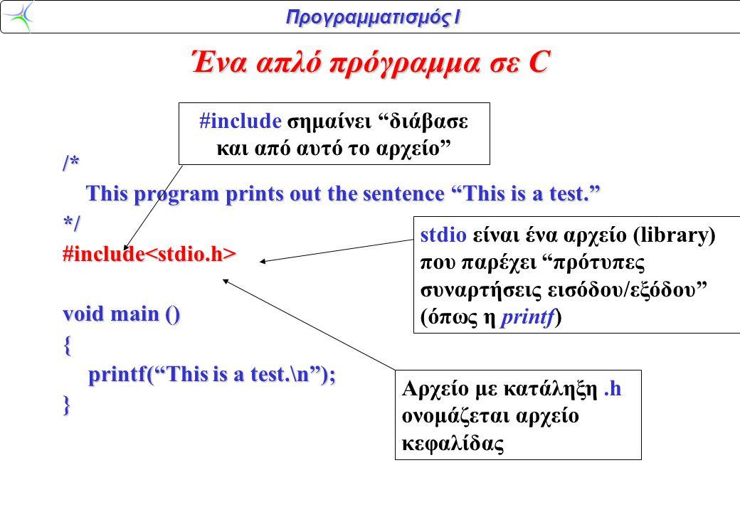 Προγραμματισμός Ι /* This program prints out the sentence This is a test. This program prints out the sentence This is a test. */#include<stdio.h> void main () { printf( This is a test.\n ); } Η εκτέλεση του προγράμματος αρχίζει πάντοτε από τη συνάρτηση main().