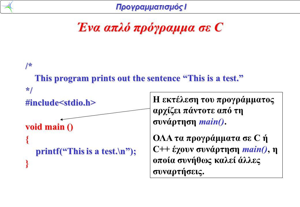 Προγραμματισμός Ι #include<stdio.h> void main () { printf( This is a test.\n ); } Tο τμήμα ανάμεσα στα άγκιστρα ονομάζεται σώμα (body) της συνάρτησης.