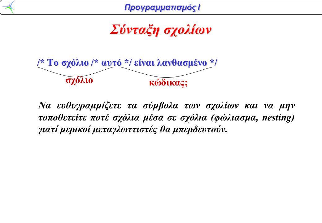 Προγραμματισμός Ι Παρατηρήσεις: Printf()printf() –Η γλώσσα C διαχωρίζει τα κεφαλαία γράμματα από τα μικρά (case sensitive).