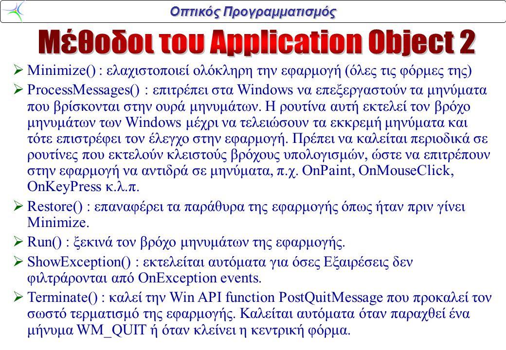 Οπτικός Προγραμματισμός  Minimize() : ελαχιστοποιεί ολόκληρη την εφαρμογή (όλες τις φόρμες της)  ProcessMessages() : επιτρέπει στα Windows να επεξεργαστούν τα μηνύματα που βρίσκονται στην ουρά μηνυμάτων.