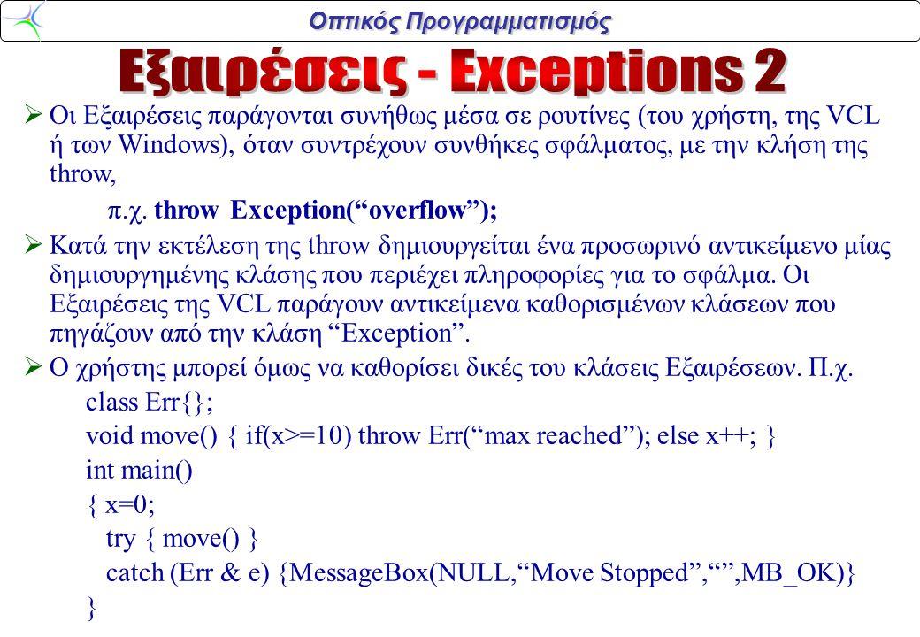 Οπτικός Προγραμματισμός  Μερικές κλάσεις Εξαιρέσεων στην VCL :  EAbortΣταματά χωρίς να εμφανίζει μήνυμα σφάλματος.