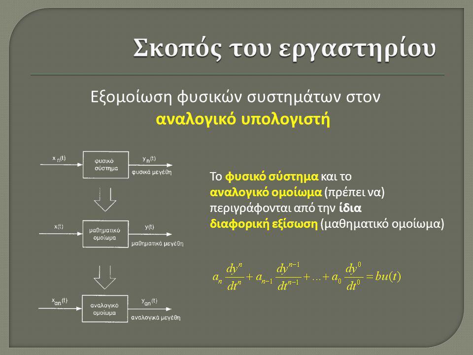 Εξομοίωση φυσικών συστημάτων στον αναλογικό υπολογιστή Το φυσικό σύστημα και το αναλογικό ομοίωμα (πρέπει να) περιγράφονται από την ίδια διαφορική εξί