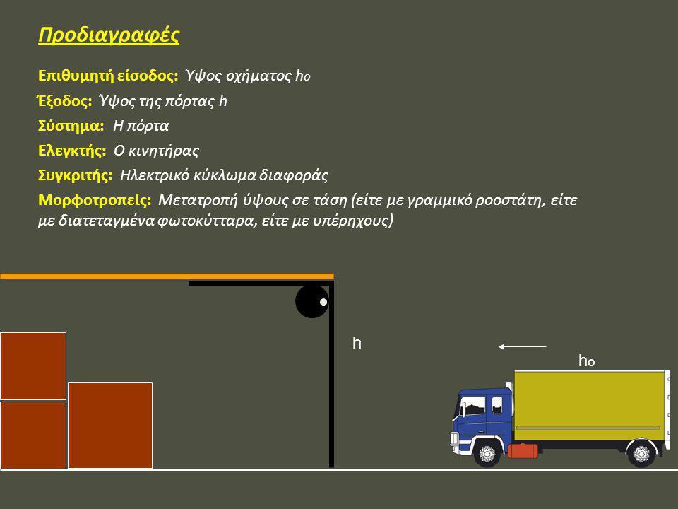Προδιαγραφές Επιθυμητή είσοδος: Ύψος οχήματος h o Έξοδος: Ύψος της πόρτας h Σύστημα: Η πόρτα Ελεγκτής: Ο κινητήρας Συγκριτής: Ηλεκτρικό κύκλωμα διαφορ