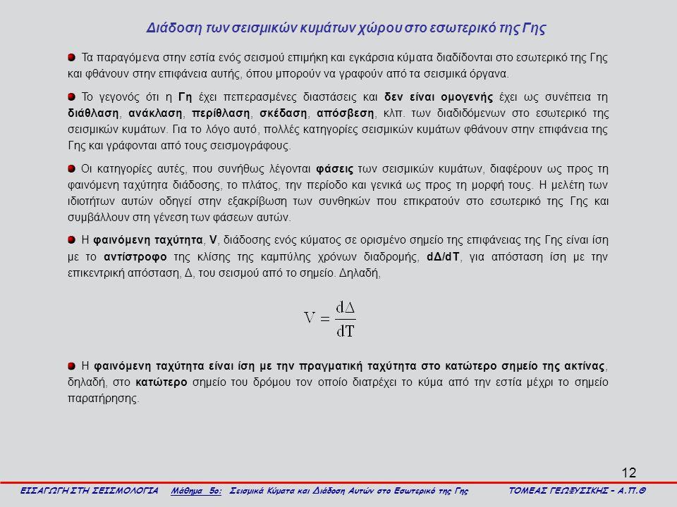 12 Διάδοση των σεισμικών κυμάτων χώρου στο εσωτερικό της Γης ΕΙΣΑΓΩΓΗ ΣΤΗ ΣΕΙΣΜΟΛΟΓΙΑ Μάθημα 5ο: Σεισμικά Κύματα και Διάδοση Αυτών στο Εσωτερικό της Γ