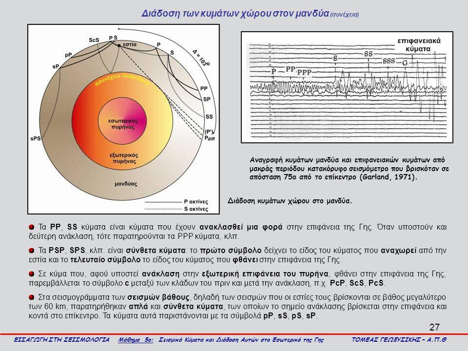 27 Διάδοση των κυμάτων χώρου στον μανδύα (συνέχεια) ΕΙΣΑΓΩΓΗ ΣΤΗ ΣΕΙΣΜΟΛΟΓΙΑ Μάθημα 5ο: Σεισμικά Κύματα και Διάδοση Αυτών στο Εσωτερικό της Γης ΤΟΜΕΑΣ