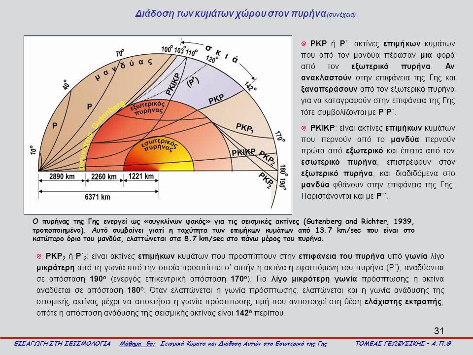 31 Διάδοση των κυμάτων χώρου στον πυρήνα (συνέχεια) ΕΙΣΑΓΩΓΗ ΣΤΗ ΣΕΙΣΜΟΛΟΓΙΑ Μάθημα 5ο: Σεισμικά Κύματα και Διάδοση Αυτών στο Εσωτερικό της Γης ΤΟΜΕΑΣ