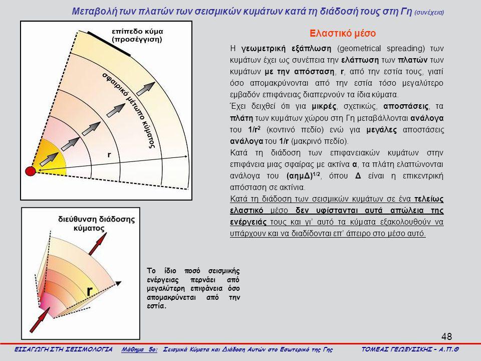 48 Μεταβολή των πλατών των σεισμικών κυμάτων κατά τη διάδοσή τους στη Γη (συνέχεια) ΕΙΣΑΓΩΓΗ ΣΤΗ ΣΕΙΣΜΟΛΟΓΙΑ Μάθημα 5ο: Σεισμικά Κύματα και Διάδοση Αυ