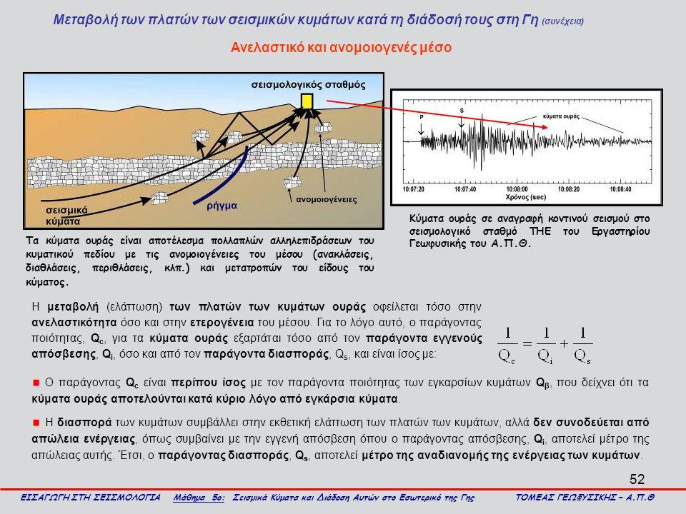 52 Μεταβολή των πλατών των σεισμικών κυμάτων κατά τη διάδοσή τους στη Γη (συνέχεια) ΕΙΣΑΓΩΓΗ ΣΤΗ ΣΕΙΣΜΟΛΟΓΙΑ Μάθημα 5ο: Σεισμικά Κύματα και Διάδοση Αυ