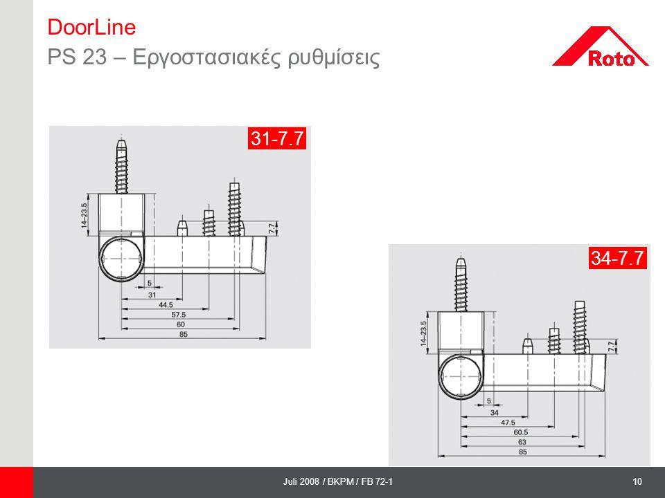 10Juli 2008 / BKPM / FB 72-1 DoorLine PS 23 – Εργοστασιακές ρυθμίσεις 31-7.7 34-7.7