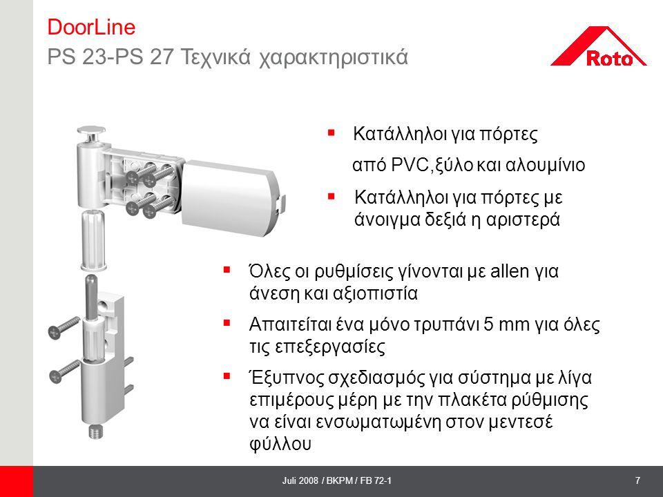 7Juli 2008 / BKPM / FB 72-1 DoorLine PS 23-PS 27 Τεχνικά χαρακτηριστικά  Όλες οι ρυθμίσεις γίνονται με allen για άνεση και αξιοπιστία  Απαιτείται έν