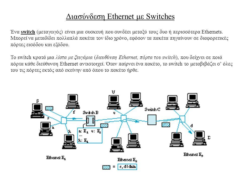 Διασύνδεση Ethernet με Switches Ένα switch (μεταγωγός) είναι μια συσκευή που συνδέει μεταξύ τους δυο ή περισσότερα Ethernets. Μπορεί να μεταδίδει πολλ