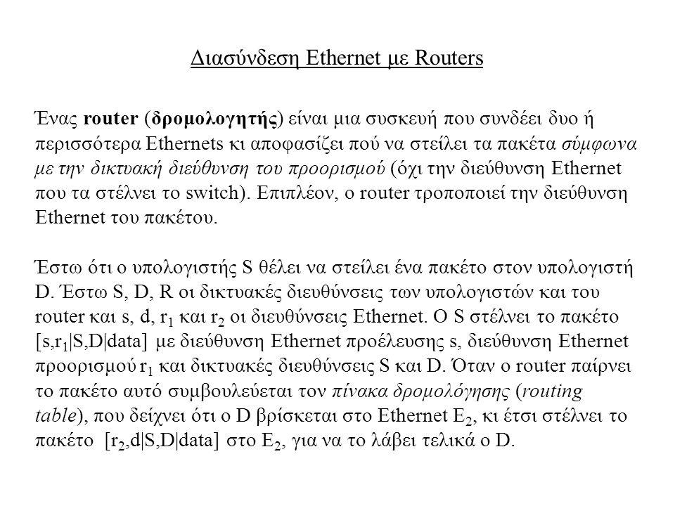 Διασύνδεση Ethernet με Routers Ένας router (δρομολογητής) είναι μια συσκευή που συνδέει δυο ή περισσότερα Ethernets κι αποφασίζει πού να στείλει τα πα