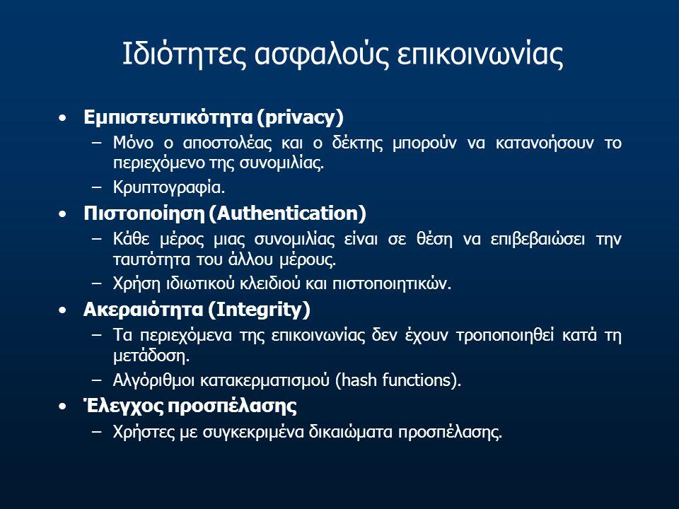 Ιδιότητες ασφαλούς επικοινωνίας •Εμπιστευτικότητα (privacy) –Μόνο ο αποστολέας και ο δέκτης μπορούν να κατανοήσουν το περιεχόμενο της συνομιλίας. –Κρυ