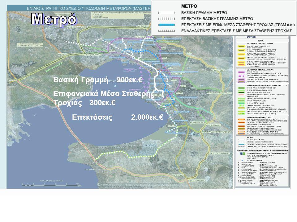 Βασική Γραμμή 900εκ.€ Επεκτάσεις 2.000εκ.€ Επιφανειακά Μέσα Σταθερής Τροχιάς 300εκ.€