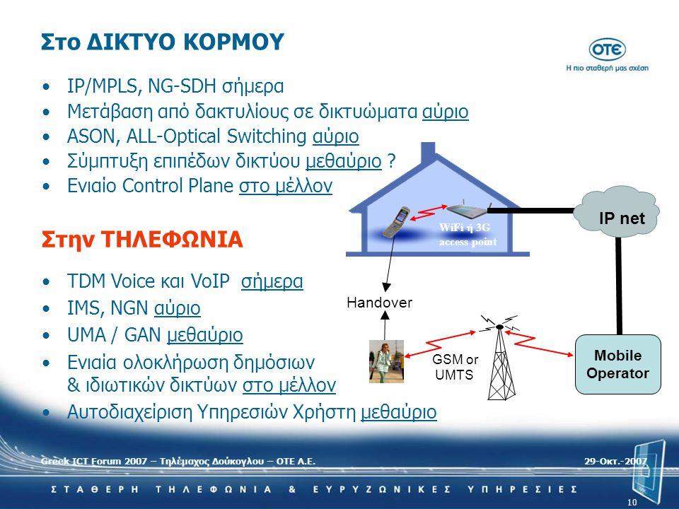 Greek ICT Forum 2007 – Τηλέμαχος Δούκογλου – ΟΤΕ Α.Ε.29-Oκτ.-2007 10 •TDM Voice και VoIP σήμερα •IMS, NGN αύριο •UMA / GAN μεθαύριο •Ενιαία ολοκλήρωση