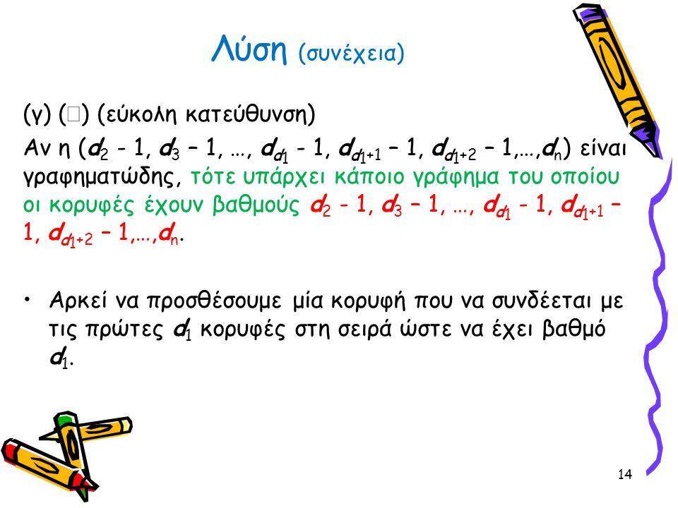 (γ) (  ) (εύκολη κατεύθυνση) Αν η (d 2 - 1, d 3 – 1, …, d d 1 - 1, d d 1 +1 – 1, d d 1 +2 – 1,…,d n ) είναι γραφηματώδης, τότε υπάρχει κάποιο γράφημα