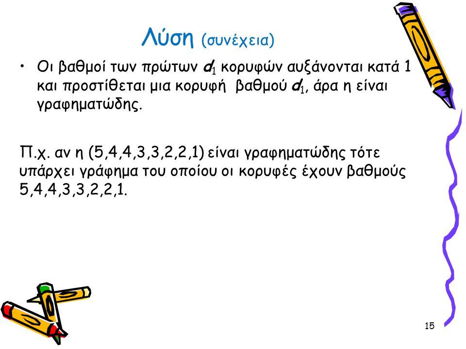•Οι βαθμοί των πρώτων d 1 κορυφών αυξάνονται κατά 1 και προστίθεται μια κορυφή βαθμού d 1, άρα η είναι γραφηματώδης. Π.χ. αν η (5,4,4,3,3,2,2,1) είναι