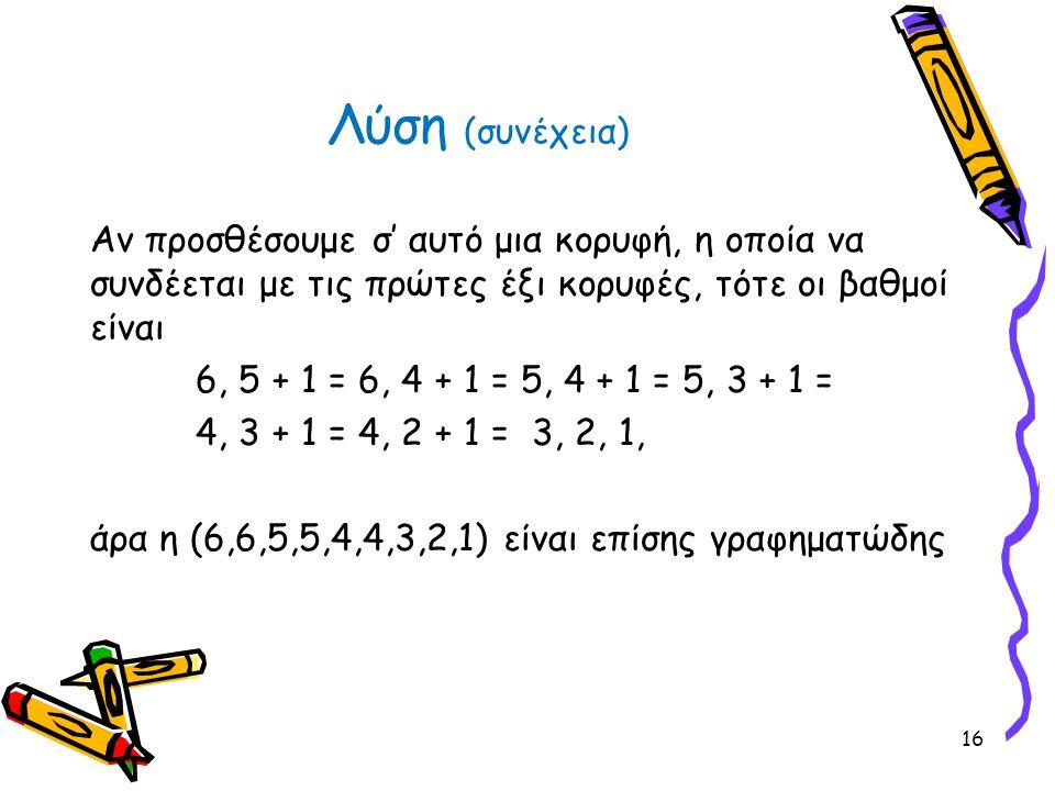 Αν προσθέσουμε σ' αυτό μια κορυφή, η οποία να συνδέεται με τις πρώτες έξι κορυφές, τότε οι βαθμοί είναι 6, 5 + 1 = 6, 4 + 1 = 5, 4 + 1 = 5, 3 + 1 = 4,