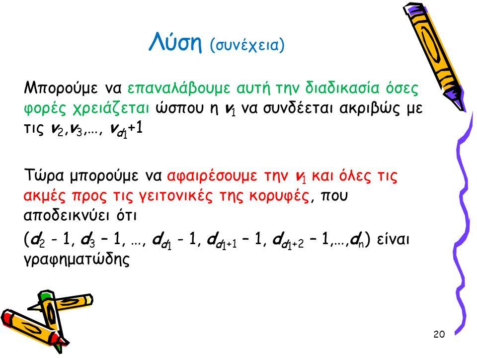 Μπορούμε να επαναλάβουμε αυτή την διαδικασία όσες φορές χρειάζεται ώσπου η v 1 να συνδέεται ακριβώς με τις v 2,v 3,…, v d 1 +1 Τώρα μπορούμε να αφαιρέ