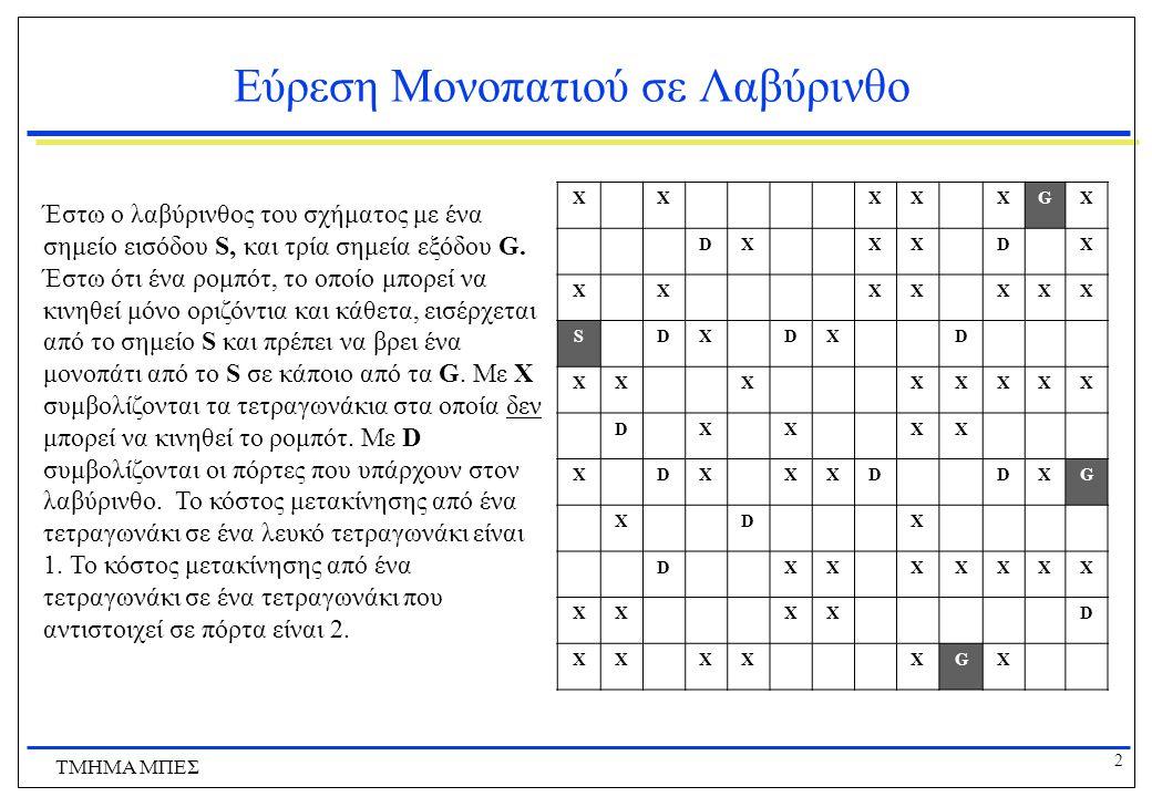 3 ΤΜΗΜΑ ΜΠΕΣ Εργασία 1 - Τυφλή Αναζήτηση  Υλοποιήστε πρόγραμμα που επιλύει το πρόβλημα εύρεσης μονοπατιού στον λαβύρινθο χρησιμοποιώντας τους εξής αλγόριθμους τυφλής αναζήτησης:  Αναζήτηση πρώτα κατά πλάτος (BFS) με ή χωρίς αποφυγή επαναλαμβανόμενων καταστάσεων (δική σας επιλογή)  Αναζήτηση ενιαίου κόστους (UCS)  Αναζήτηση επαναληπτικήw εκβάθυνση (IDS).