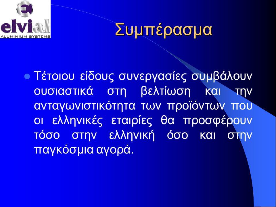 Συμπέρασμα  Τέτοιου είδους συνεργασίες συμβάλουν ουσιαστικά στη βελτίωση και την ανταγωνιστικότητα των προϊόντων που οι ελληνικές εταιρίες θα προσφέρουν τόσο στην ελληνική όσο και στην παγκόσμια αγορά.