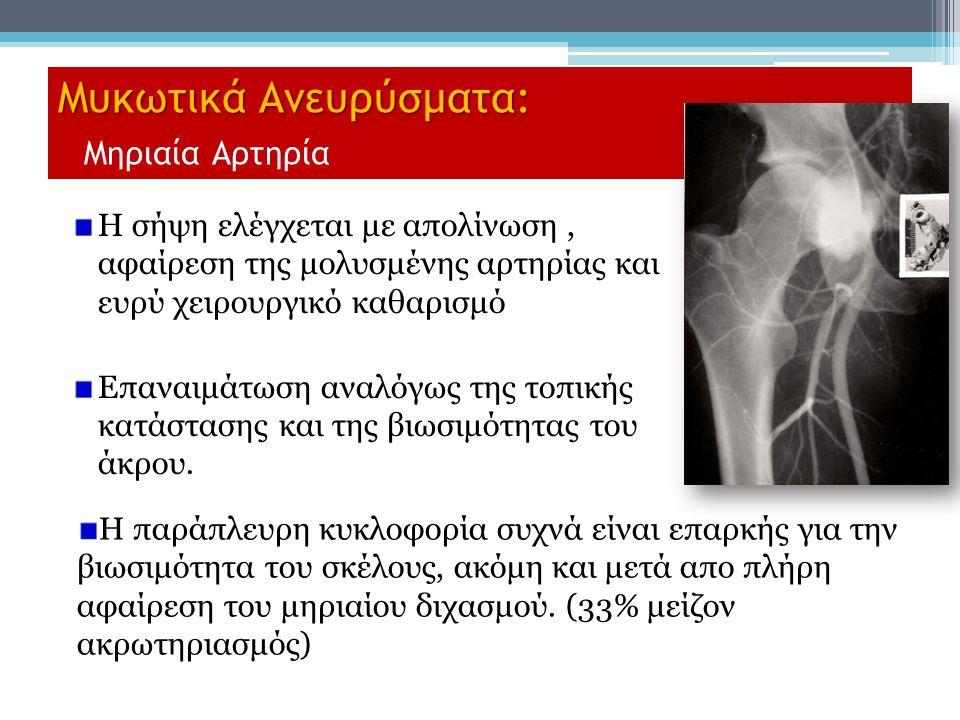 Μυκωτικά Ανευρύσματα: Μυκωτικά Ανευρύσματα: Μηριαία Αρτηρία Η σήψη ελέγχεται με απολίνωση, αφαίρεση της μολυσμένης αρτηρίας και ευρύ χειρουργικό καθαρ