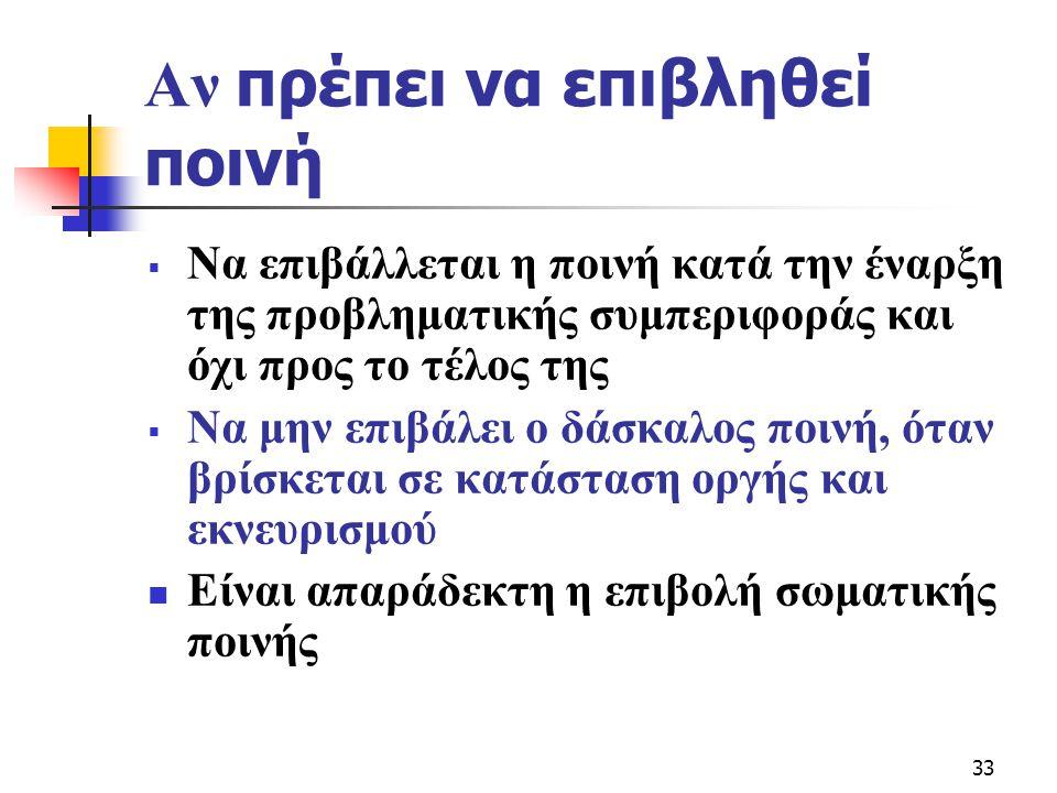 33 Αν πρέπει να επιβληθεί ποινή  Να επιβάλλεται η ποινή κατά την έναρξη της προβληματικής συμπεριφοράς και όχι προς το τέλος της  Να μην επιβάλει ο