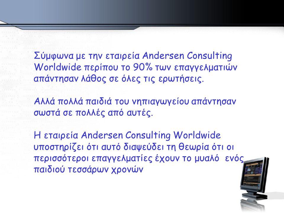 Σύμφωνα με την εταιρεία Andersen Consulting Worldwide περίπου το 90% των επαγγελματιών απάντησαν λάθος σε όλες τις ερωτήσεις.