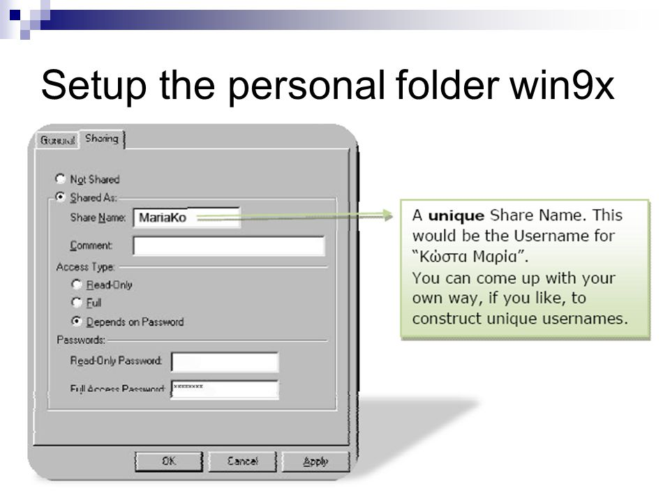 Setup the personal folder win9x