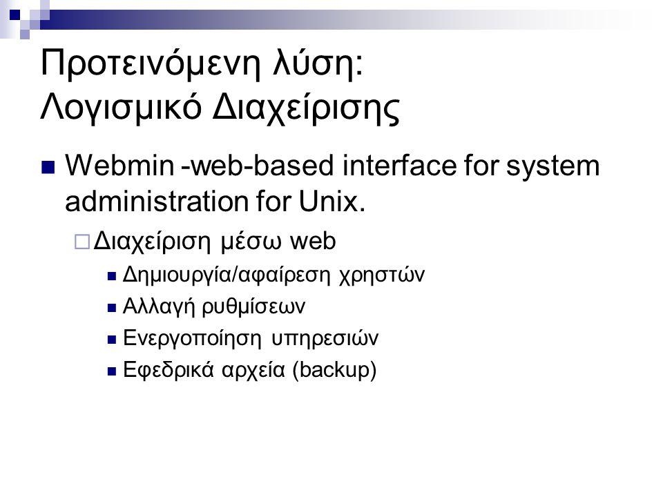 Προτεινόμενη λύση: Λογισμικό Διαχείρισης  Webmin -web-based interface for system administration for Unix.
