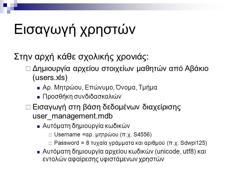 Εισαγωγή χρηστών Στην αρχή κάθε σχολικής χρονιάς:  Δημιουργία αρχείου στοιχείων μαθητών από Αβάκιο (users.xls)  Αρ.