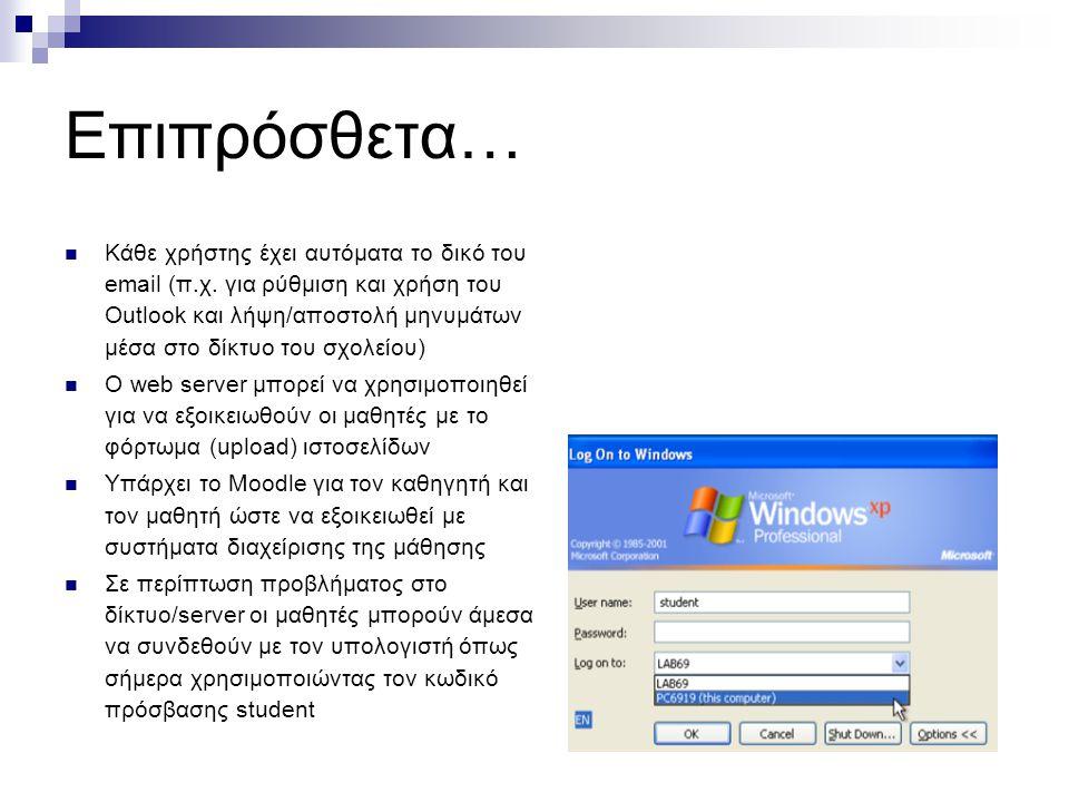 Επιπρόσθετα…  Κάθε χρήστης έχει αυτόματα το δικό του email (π.χ.