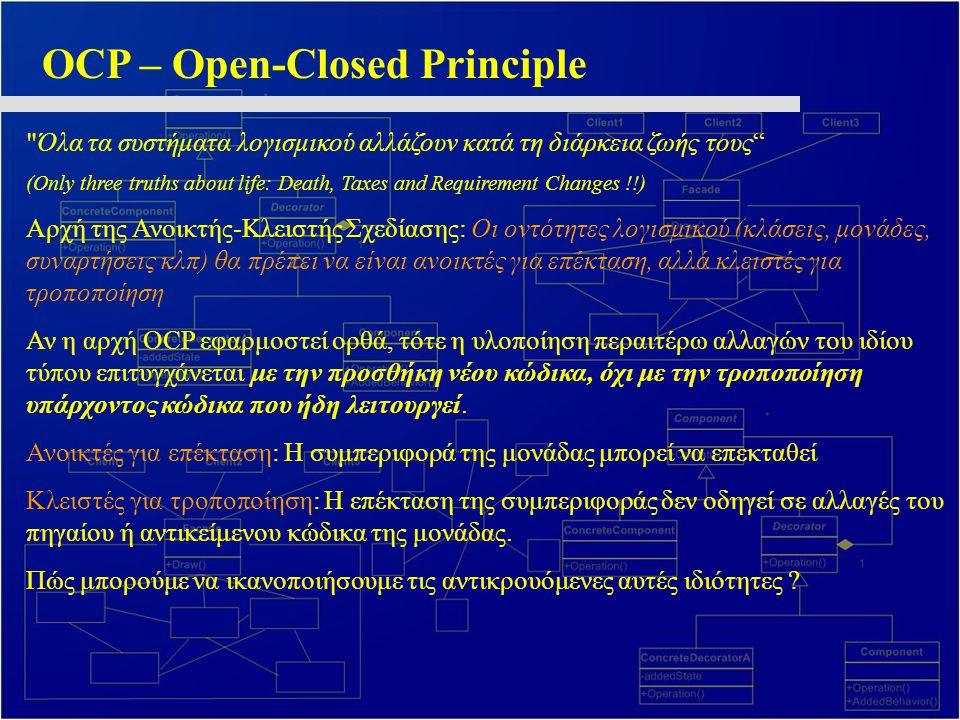 OCP – Open-Closed Principle Όλα τα συστήματα λογισμικού αλλάζουν κατά τη διάρκεια ζωής τους (Only three truths about life: Death, Taxes and Requirement Changes !!) Αρχή της Ανοικτής-Κλειστής Σχεδίασης: Οι οντότητες λογισμικού (κλάσεις, μονάδες, συναρτήσεις κλπ) θα πρέπει να είναι ανοικτές για επέκταση, αλλά κλειστές για τροποποίηση Αν η αρχή OCP εφαρμοστεί ορθά, τότε η υλοποίηση περαιτέρω αλλαγών του ιδίου τύπου επιτυγχάνεται με την προσθήκη νέου κώδικα, όχι με την τροποποίηση υπάρχοντος κώδικα που ήδη λειτουργεί.
