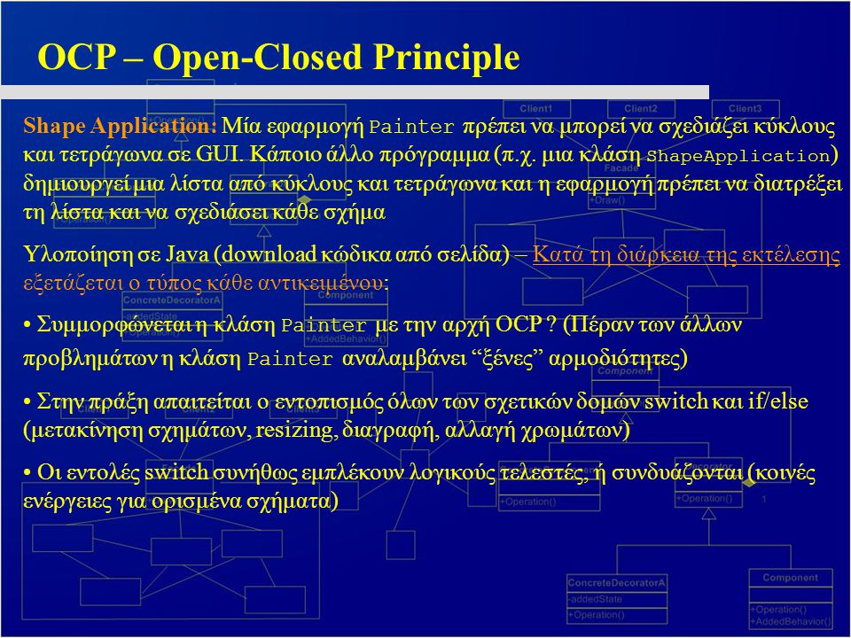 OCP – Open-Closed Principle Shape Application: Μία εφαρμογή Painter πρέπει να μπορεί να σχεδιάζει κύκλους και τετράγωνα σε GUI.