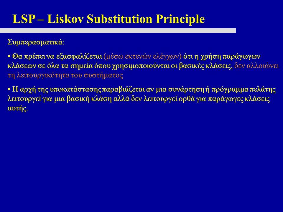 LSP – Liskov Substitution Principle Συμπερασματικά: • Θα πρέπει να εξασφαλίζεται (μέσω εκτενών ελέγχων) ότι η χρήση παράγωγων κλάσεων σε όλα τα σημεία όπου χρησιμοποιούνται οι βασικές κλάσεις, δεν αλλοιώνει τη λειτουργικότητα του συστήματος • Η αρχή της υποκατάστασης παραβιάζεται αν μια συνάρτηση ή πρόγραμμα πελάτης λειτουργεί για μια βασική κλάση αλλά δεν λειτουργεί ορθά για παράγωγες κλάσεις αυτής.