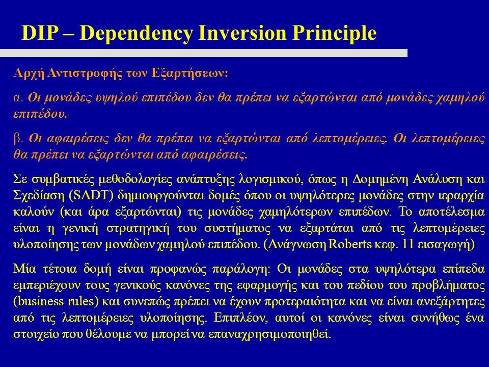 DIP – Dependency Inversion Principle Αρχή Αντιστροφής των Εξαρτήσεων: α. Οι μονάδες υψηλού επιπέδου δεν θα πρέπει να εξαρτώνται από μονάδες χαμηλού επ
