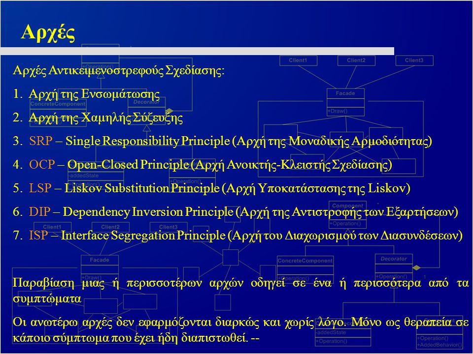 DIP – Dependency Inversion Principle Συμπερασματικά: • Διαδικασιακός προγραμματισμός: Δομές όπου οι μονάδες υψηλού επιπέδου εξαρτώνται από τις μονάδες χαμηλού επιπέδου • Ατυχής Επιλογή: Η πολιτική του συστήματος είναι ευάλωτη σε αλλαγές της υλοποίησης •Αντικειμενοστρεφής Προγραμματισμός: Δομές αντεστραμμένες •Πολλοί θεωρούν τη διαφορά αυτή ως ειδοποιό.