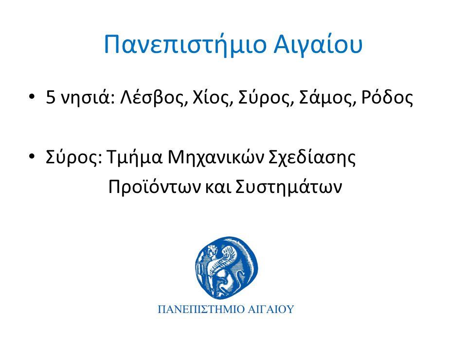 Πανεπιστήμιο Αιγαίου • 5 νησιά: Λέσβος, Χίος, Σύρος, Σάμος, Ρόδος • Σύρος: Τμήμα Μηχανικών Σχεδίασης Προϊόντων και Συστημάτων