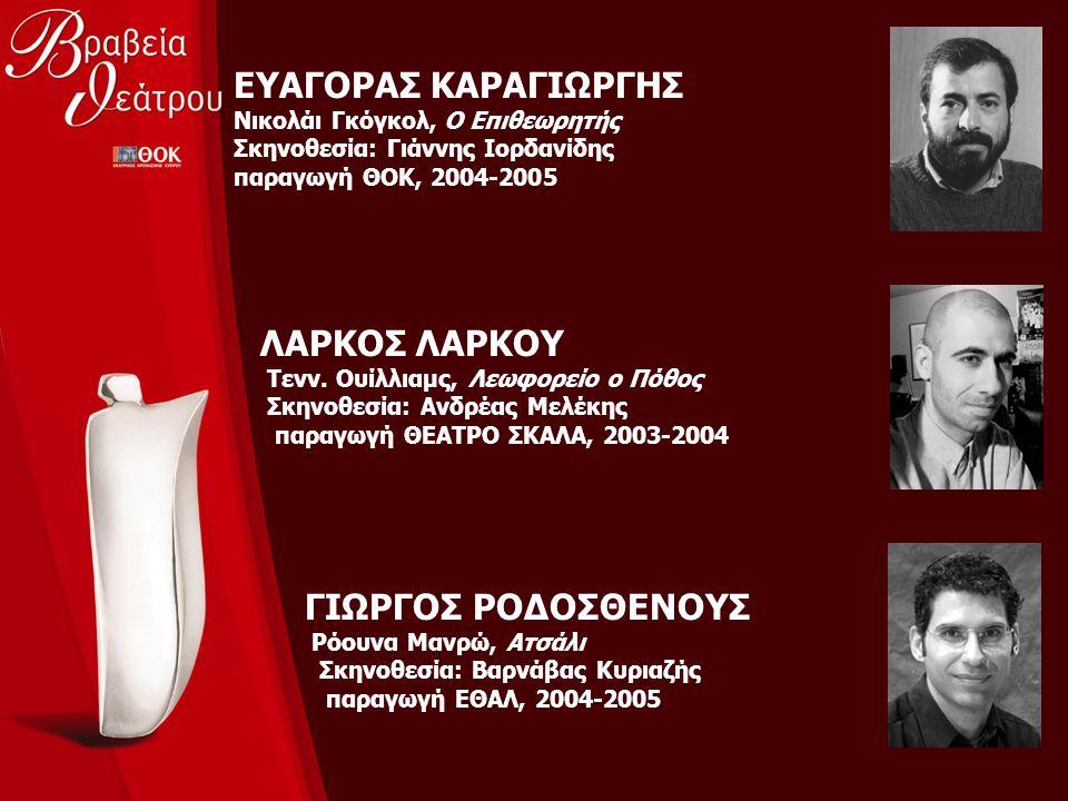 ΕΥΑΓΟΡΑΣ ΚΑΡΑΓΙΩΡΓΗΣ Νικολάι Γκόγκολ, Ο Επιθεωρητής Σκηνοθεσία: Γιάννης Ιορδανίδης παραγωγή ΘΟΚ, 2004-2005 ΛΑΡΚΟΣ ΛΑΡΚΟΥ Τενν. Ουίλλιαμς, Λεωφορείο ο