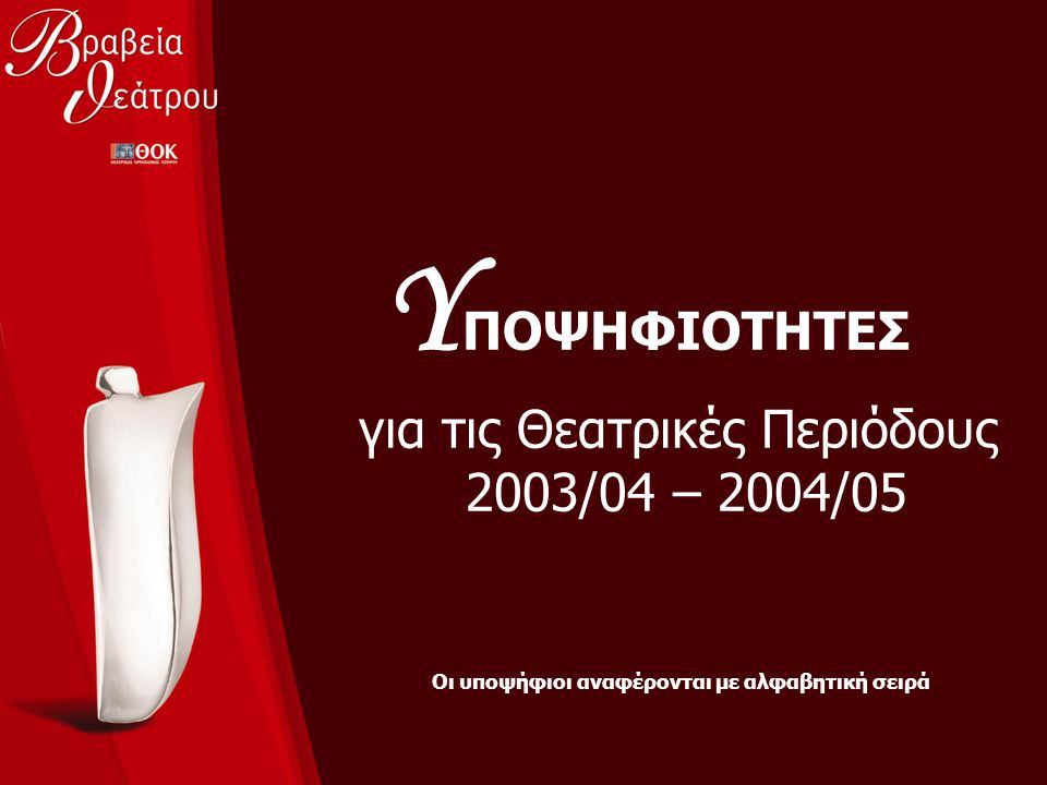 Υ ΠΟΨΗΦΙΟΤΗΤΕΣ για τις Θεατρικές Περιόδους 2003/04 – 2004/05 Οι υποψήφιοι αναφέρονται με αλφαβητική σειρά
