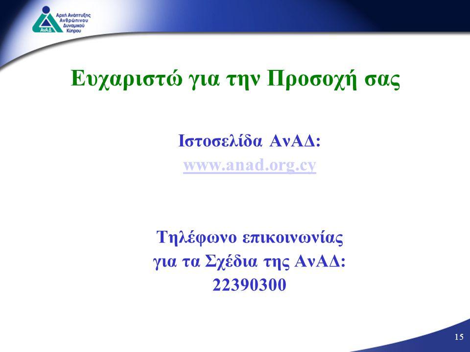 15 Ευχαριστώ για την Προσοχή σας Ιστοσελίδα ΑνΑΔ: www.anad.org.cy Τηλέφωνο επικοινωνίας για τα Σχέδια της ΑνΑΔ: 22390300 15