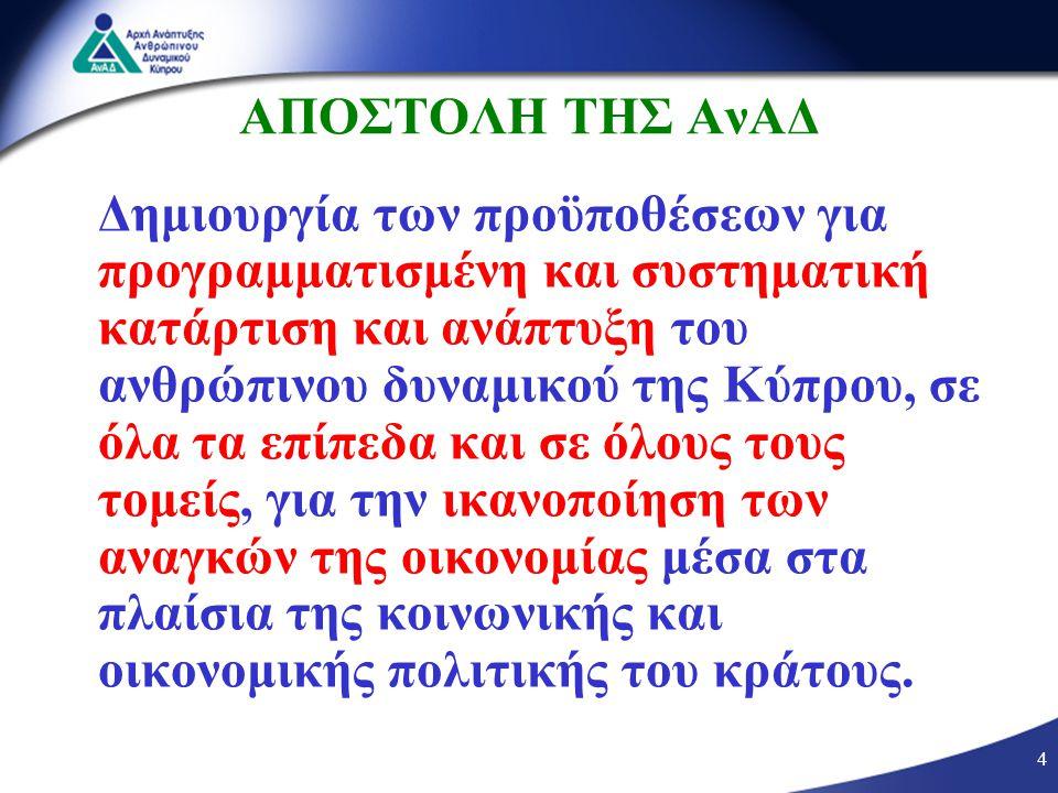 4 ΑΠΟΣΤΟΛΗ ΤΗΣ ΑνΑΔ Δημιουργία των προϋποθέσεων για προγραμματισμένη και συστηματική κατάρτιση και ανάπτυξη του ανθρώπινου δυναμικού της Κύπρου, σε όλα τα επίπεδα και σε όλους τους τομείς, για την ικανοποίηση των αναγκών της οικονομίας μέσα στα πλαίσια της κοινωνικής και οικονομικής πολιτικής του κράτους.