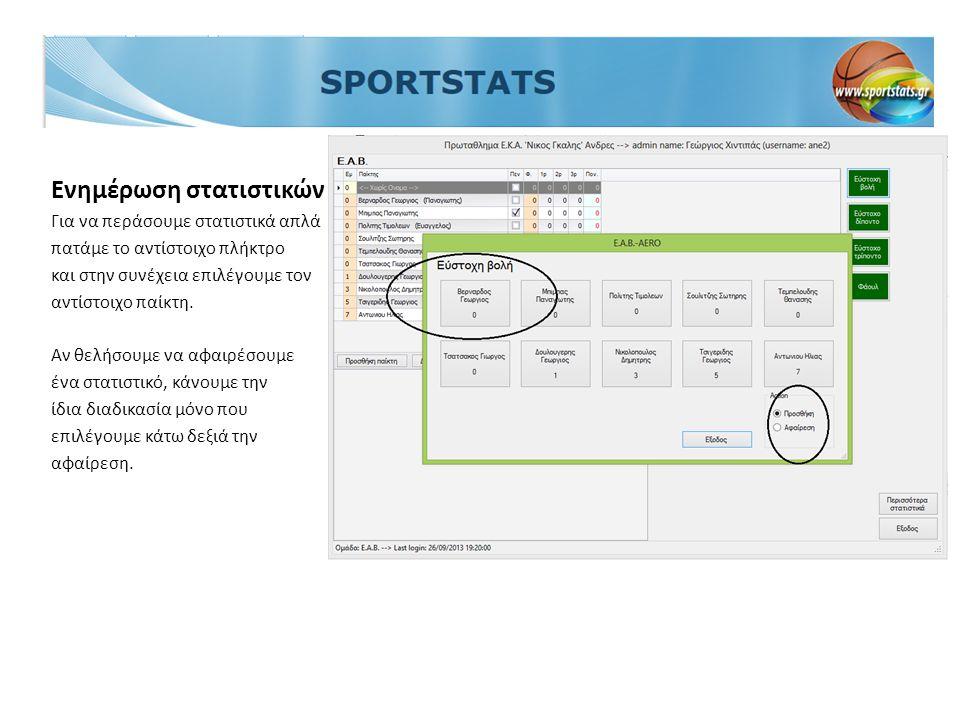 Ενημέρωση στατιστικών Για να περάσουμε στατιστικά απλά πατάμε το αντίστοιχο πλήκτρο και στην συνέχεια επιλέγουμε τον αντίστοιχο παίκτη. Αν θελήσουμε ν