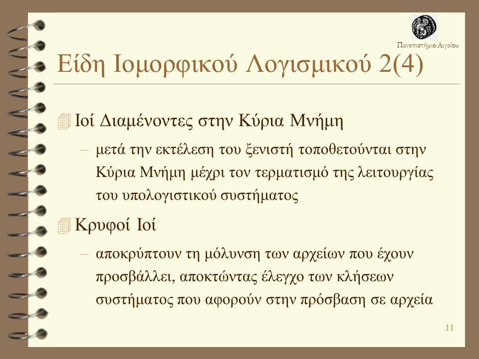 Πανεπιστήμιο Αιγαίου 11 Είδη Ιομορφικού Λογισμικού 2(4) 4 Ιοί Διαμένοντες στην Κύρια Μνήμη –μετά την εκτέλεση του ξενιστή τοποθετούνται στην Κύρια Μνήμη μέχρι τον τερματισμό της λειτουργίας του υπολογιστικού συστήματος 4 Κρυφοί Ιοί –αποκρύπτουν τη μόλυνση των αρχείων που έχουν προσβάλλει, αποκτώντας έλεγχο των κλήσεων συστήματος που αφορούν στην πρόσβαση σε αρχεία