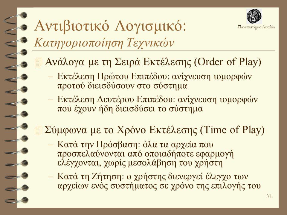 Πανεπιστήμιο Αιγαίου 31 Αντιβιοτικό Λογισμικό: Κατηγοριοποίηση Τεχνικών 4 Ανάλογα με τη Σειρά Εκτέλεσης (Order of Play) –Εκτέλεση Πρώτου Επιπέδου: ανίχνευση ιομορφών προτού διεισδύσουν στο σύστημα –Εκτέλεση Δευτέρου Επιπέδου: ανίχνευση ιομορφών που έχουν ήδη διεισδύσει το σύστημα 4 Σύμφωνα με το Χρόνο Εκτέλεσης (Time of Play) –Κατά την Πρόσβαση: όλα τα αρχεία που προσπελαύνονται από οποιαδήποτε εφαρμογή ελέγχονται, χωρίς μεσολάβηση του χρήστη –Κατά τη Ζήτηση: ο χρήστης διενεργεί έλεγχο των αρχείων ενός συστήματος σε χρόνο της επιλογής του