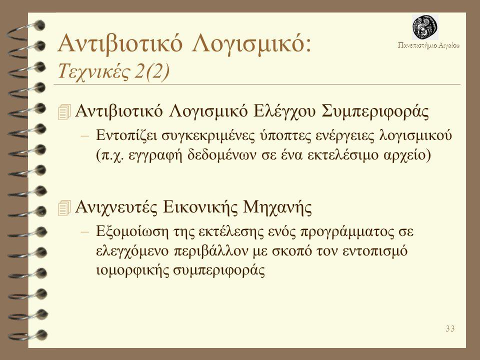 Πανεπιστήμιο Αιγαίου 33 Αντιβιοτικό Λογισμικό: Τεχνικές 2(2) 4 Αντιβιοτικό Λογισμικό Ελέγχου Συμπεριφοράς –Εντοπίζει συγκεκριμένες ύποπτες ενέργειες λογισμικού (π.χ.